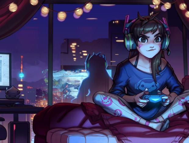 se suicider jeux vidéos fille assise surle lit chill